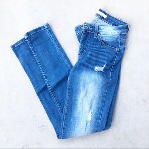 KanCan Mid Wash High Waist Distressed Skinny Jeans